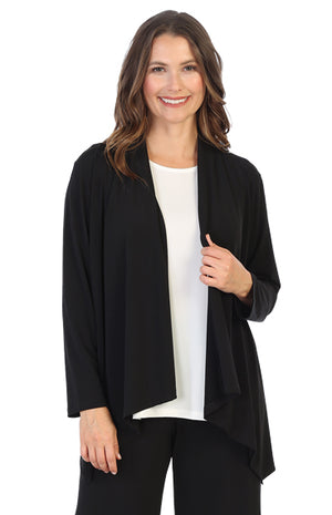 Black Soft Drape Knit Cascade Cardigan