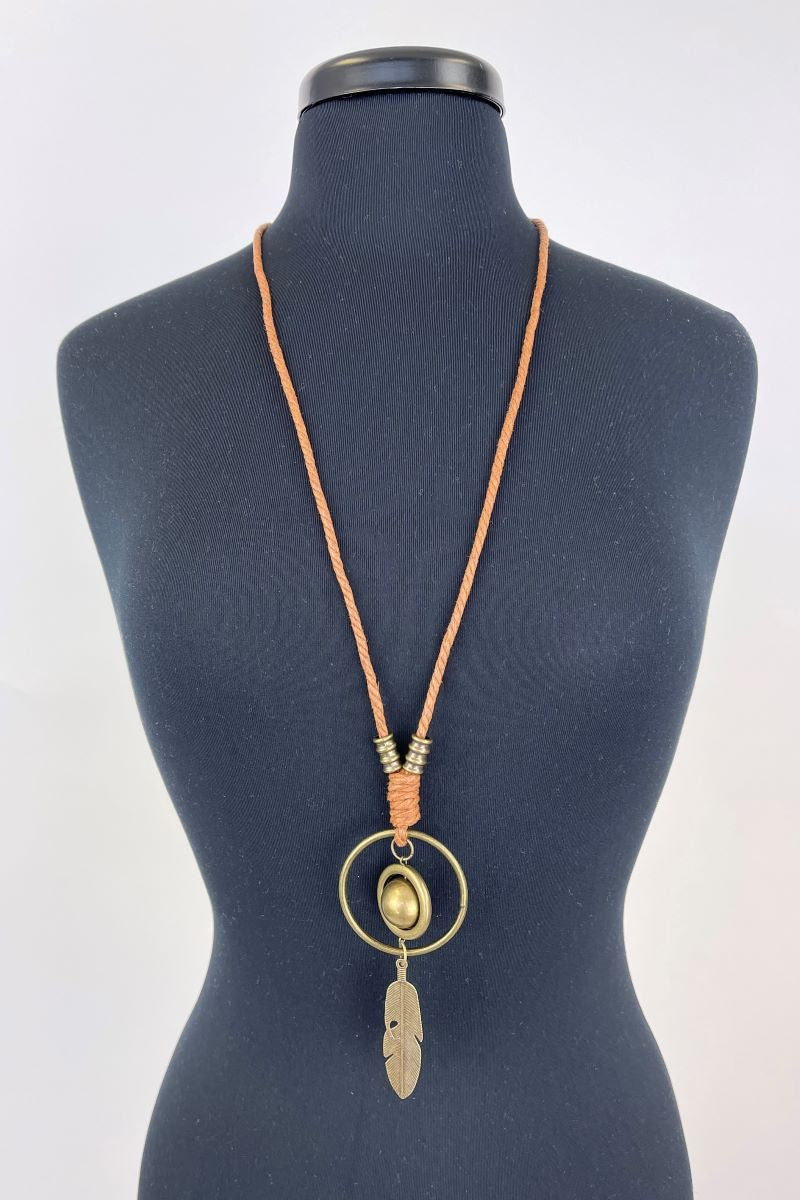 Bronze Colored Sphere and Feather Necklace