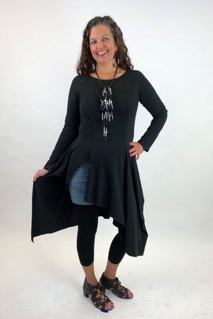 AW20-08BLK  Black Dress with Long Sleeves