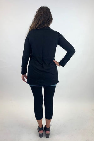 AW20-11BGS Black High Low Top with Cowl Neck