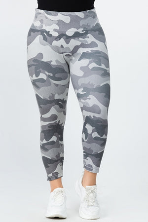 B4223XLQ Capri/Short High Waste Crop Legging Grey Camo