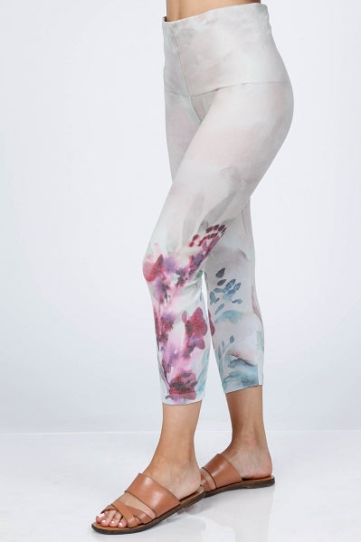 B4438K Capri/Short High Waist Crop Watercolor Floral Leggings by M.Rena
