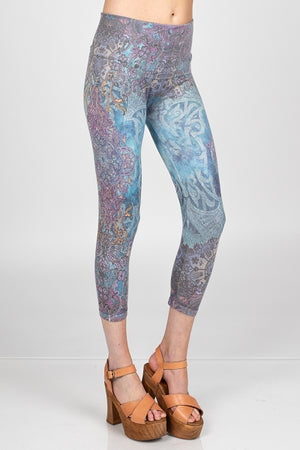 "B4438W  ""TWIST EXCLUSIVE""  High Waist Crop Mandala Leggings by M.Rena"