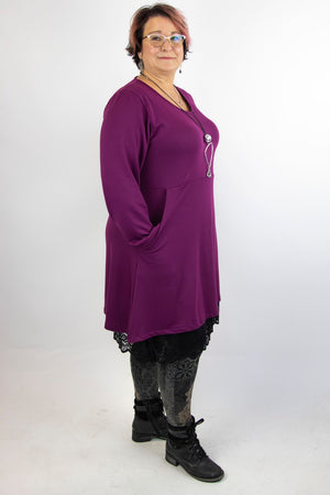 Barcelona Tunic French Terry - Long Sleeve w/Buttons and Pocket