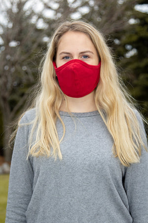 Red Seamed Face Mask with N-95 Filter