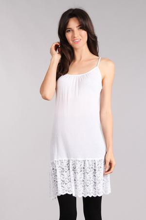 SHIRRING SEAMLESS CAMI W LACE TRIM
