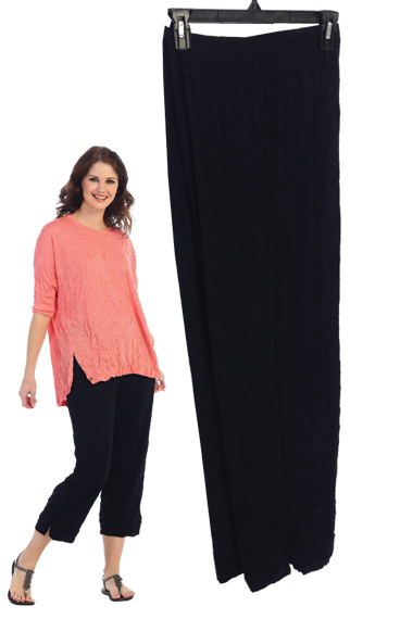 MC106 Melange Crushed Black Capri Pant with Side Pockets