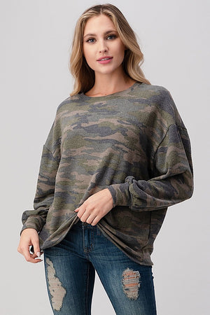 Poet Sleeve Top in Camo