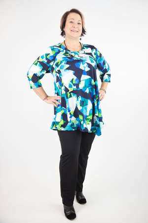 Alyssa Scoop Neck 3/4 Sleeve Asymmetrical Tunic