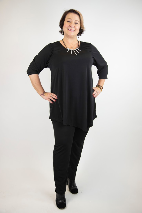 Alyssa Scoop Neck 3/4 Sleeve Asymmetrical Tunic - Black