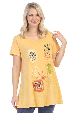 M30-1381 Patch Works Mineral Wash Short Sleeve Tunic - Wheat
