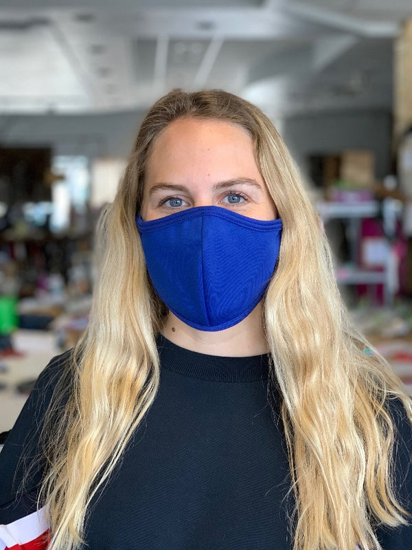 Royal Blue Seamed Face Mask - with N-95 Filter