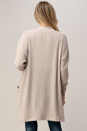 Longline Ribbed Cardigan Tan