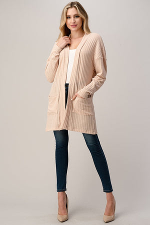 Longline Ribbed Cardigan Blush