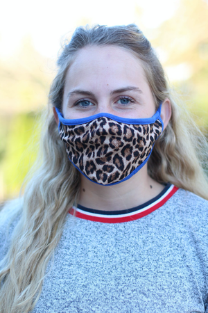 Leopard Face Mask with Blue Trim - without filter