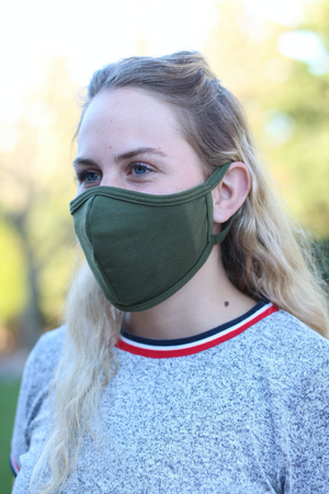Olive Seamed Face Mask - with N-95 Filter