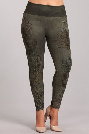 B4222XLL Extended Patterned Leggings with Dusty Arabesque Print