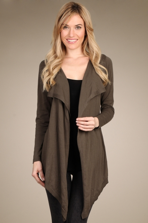 DRAPED LAPEL CARDIGAN