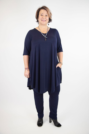 Annie Soft V-Neck Dress with Pockets - Black or Navy