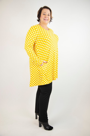 2AM Long Sleeves Small Polka Dots Tunic