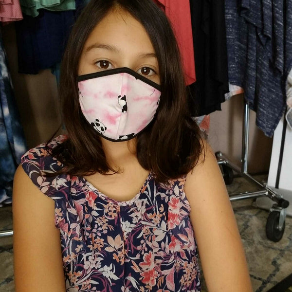 Panda Bear with Pink Flat Face Mask - no filter