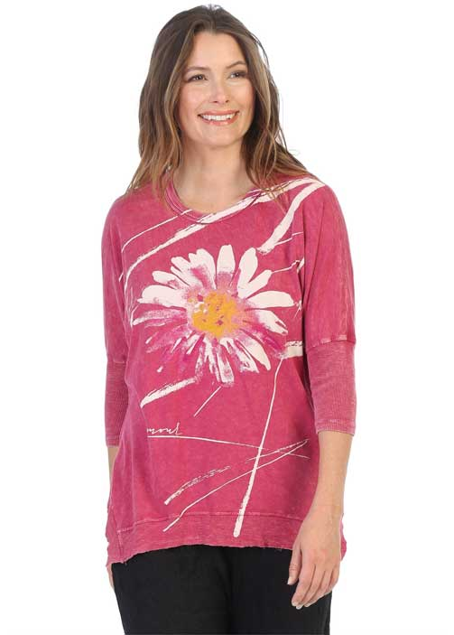 M15-1387 Chit Chat Crimson Mineral Washed Top w/Dolman Sleeve and Ribbed Hemline