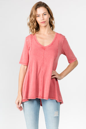 MINERAL WASH V-NECK SHORT SLEEVE TUNIC