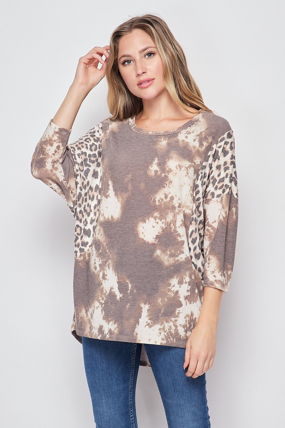 Scoop Neck Top - Taupe Brown