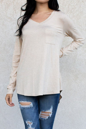Long Sleeve V-Neck Pocket Tee Tunic