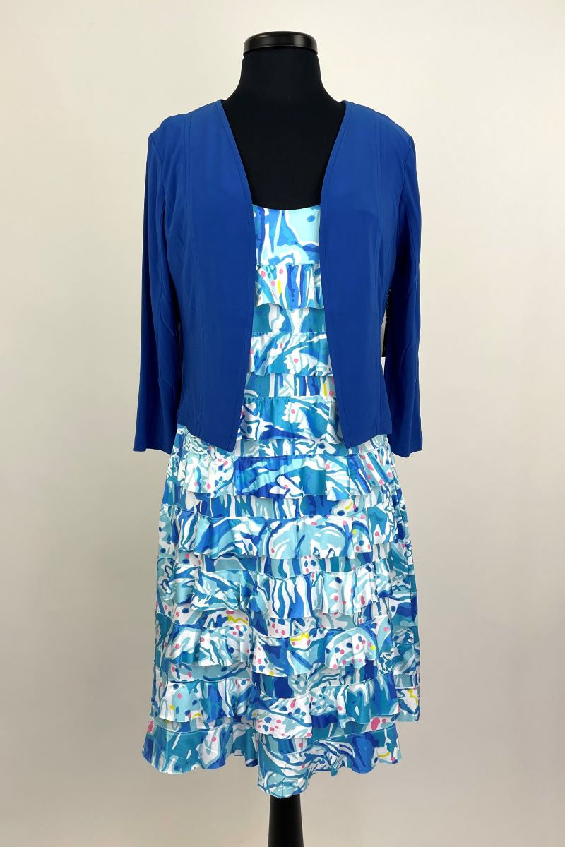 T608054ITY Blue Open Front Jacket