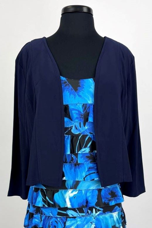 T608097 Navy Open Front Jacket
