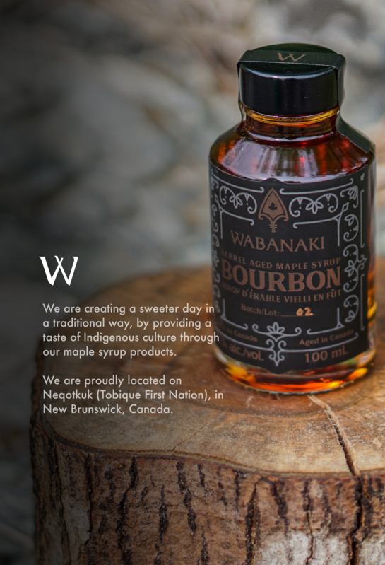 A short description of Wabanaki Maple Syrup with a picture of our Bourbon Maple Syrup