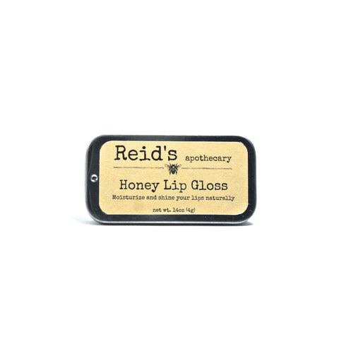 lip gloss made with beeswax in a tin