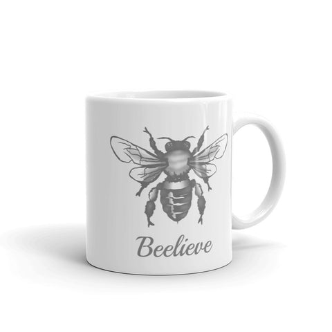 coffee mug with honey bee and words beelieve