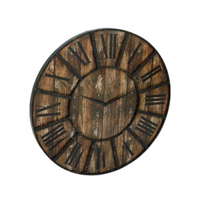 Metal and Wood Round Clock