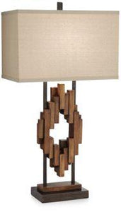 Faux Distressed Wood Table Lamp