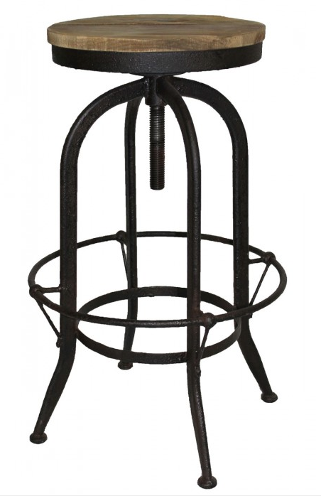 Iron and Wood Adjustable Bar Stool