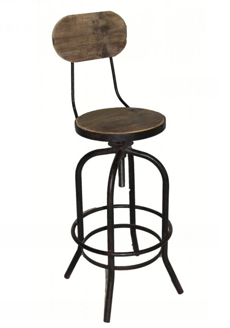 Iron and Wood Swivel Barstool with Back