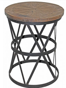 Iron and Wood Round Side Table