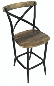 Iron X Back Counter Height Bar Stool