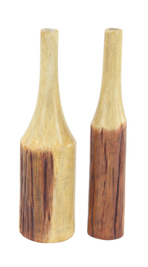 Set of 2 Wood Vases