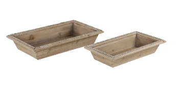 Set of 2 Wood Trays