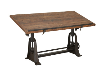 Teak and Metal Draft Table