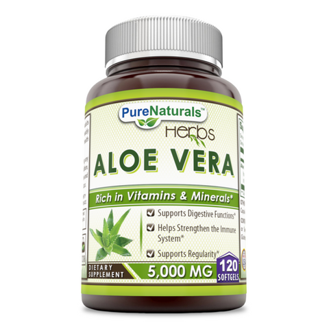 Pure Naturals Aloe Vera with Extra Virgin Olive Oil 5000 Mg 120 Softgels