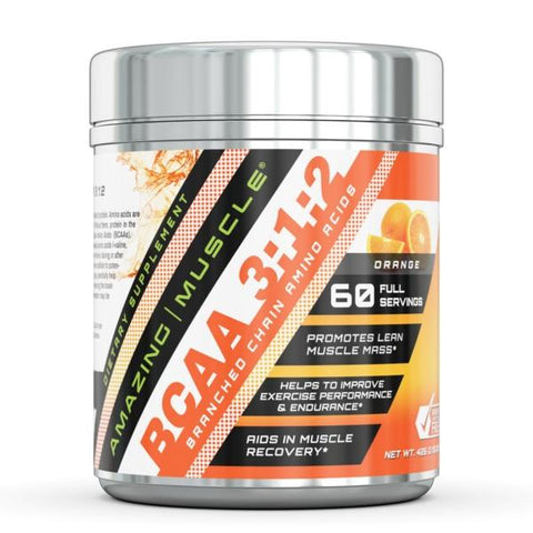 Amazing Muscle BCAA 3:1:2 Branched Chain Amino Acid Ratio 0.94 Lbs container with Approx 60 servings Orange Flavor