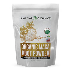 Amazing Organics USDA Certified Organic Maca Root Powder 16 Oz (454 G) - Organic Raw Nutrient Rich Superfood…