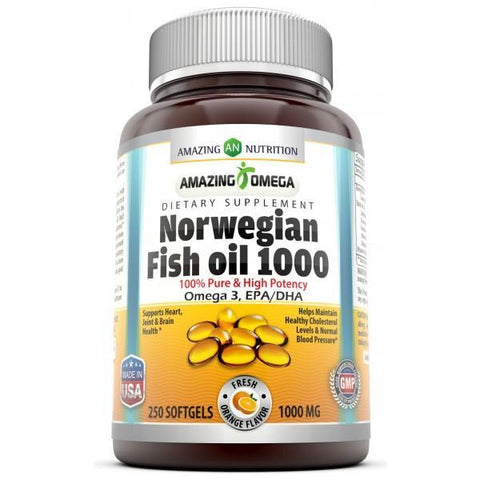 Amazing Omega Norwegian Fish Oil Fresh Orange Flavor 1000 Mg 250 Softgels