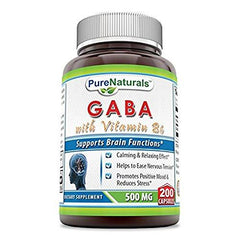Pure Naturals GABA with Vitamin B6 500 Milligrams 200 Capsules
