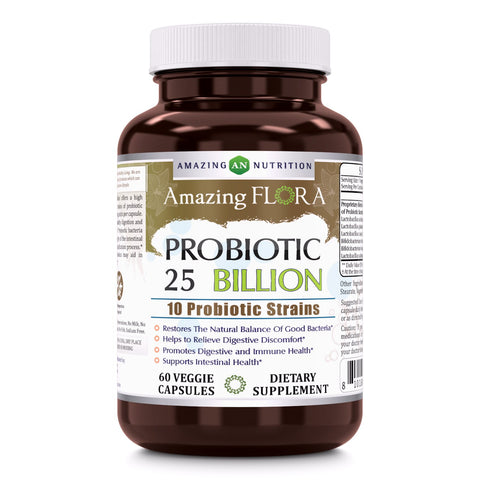 Amazing Flora Probiotic 25 Billion 10 Strains 60 Veggie Capsules