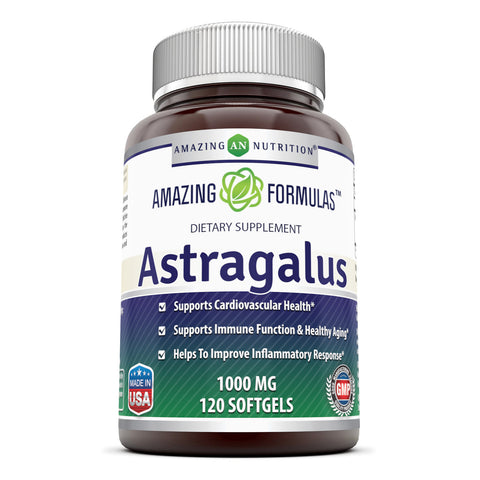 Amazing Formulas Astragalus Dietary Supplement 1000 Mg 120 Softgels